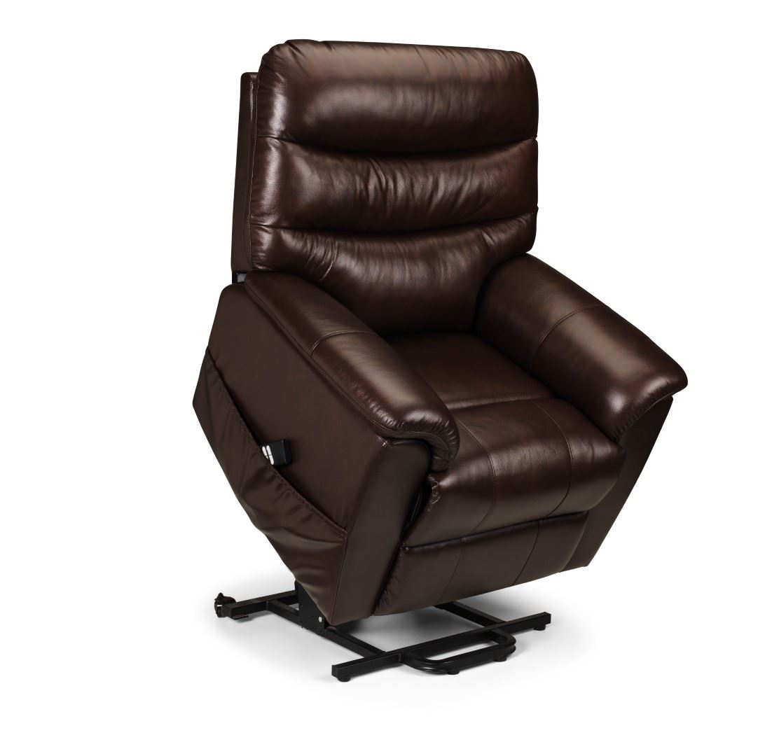 Julian Bowen Pullman Leather Dual Motor Lift Rise & Recline Chair Brown Leather