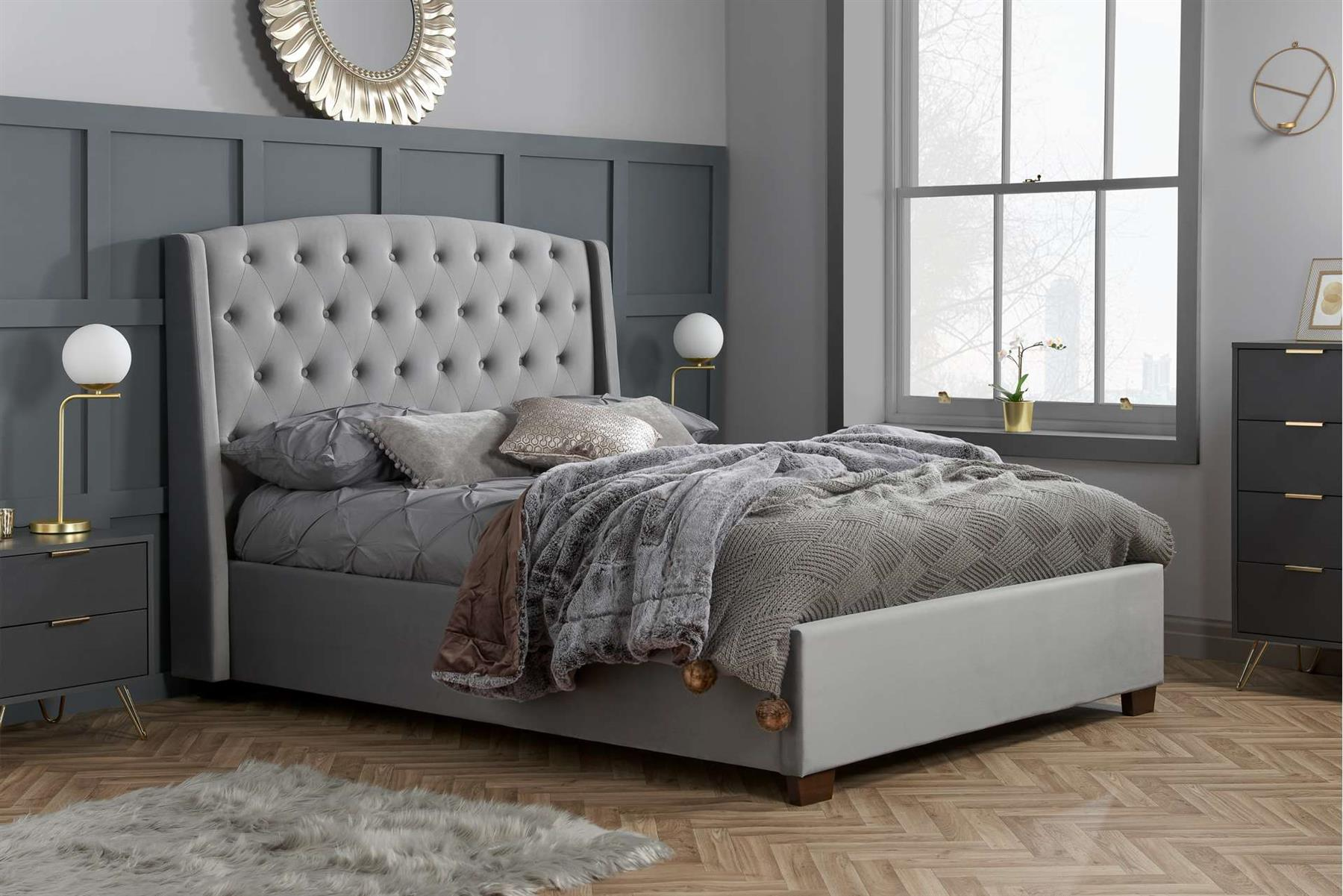 Birlea Balmoral Wing Back King Size Bed Frame 5FT 150cm Grey Velvet Fabric
