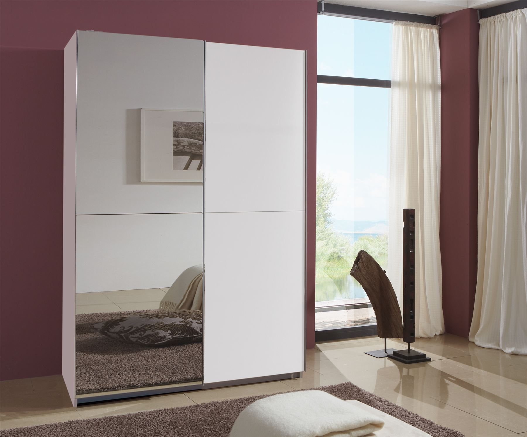 German Queen White 2 Door 135cm Sliding Slider 2 Door Wardrobe