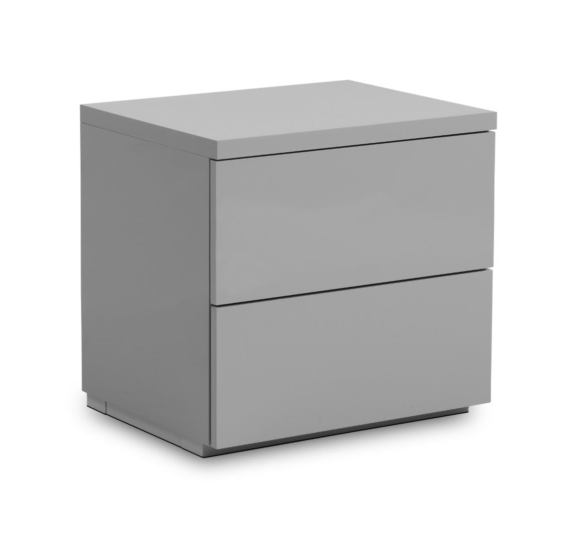 Julian Bowen Monaco 2 Drawer Bedside Cabinet Locker Grey Gloss Minimalist Design