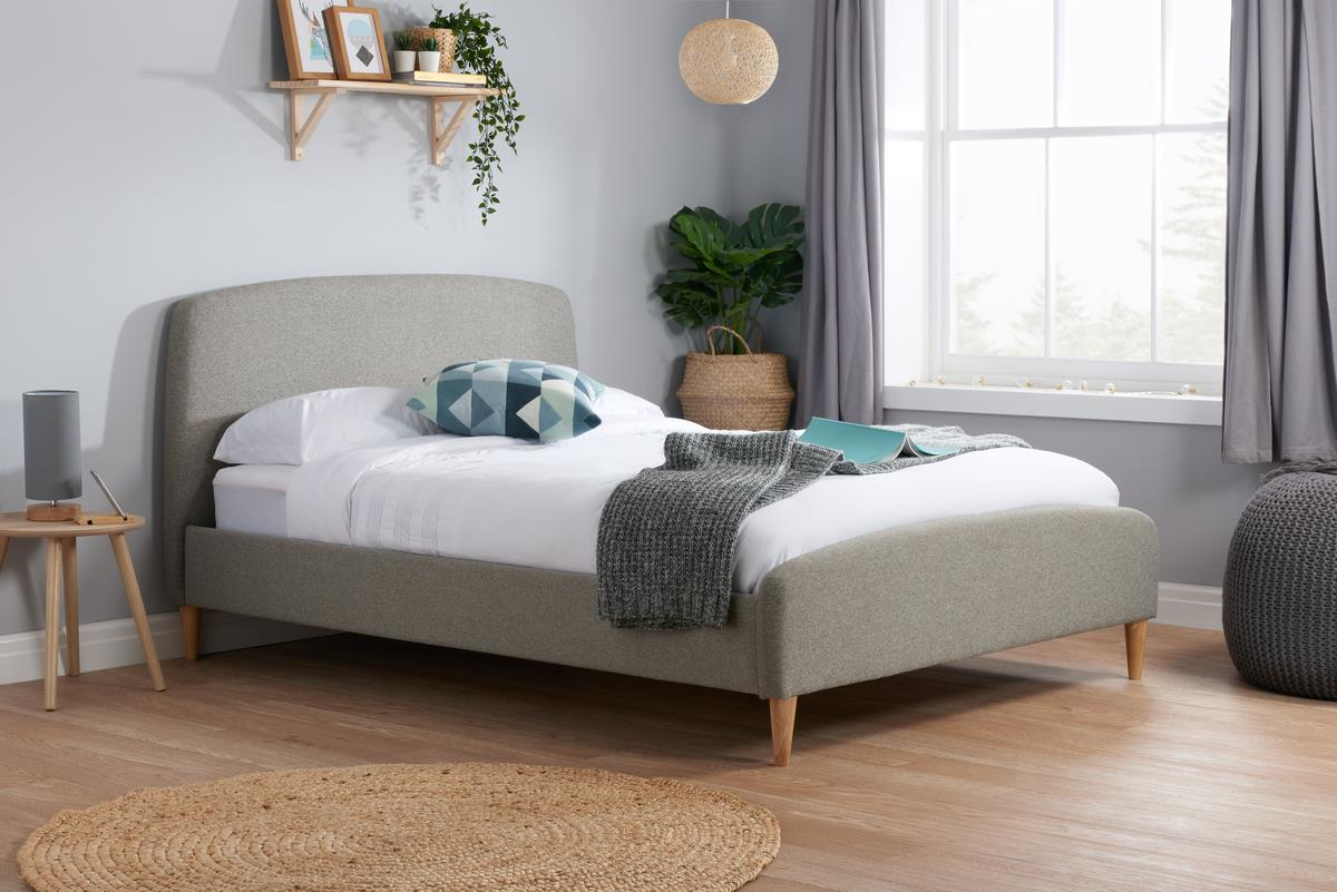 Birlea Quebec Grey Fabric Upholstered Double Bed Frame 4FT6 135cm