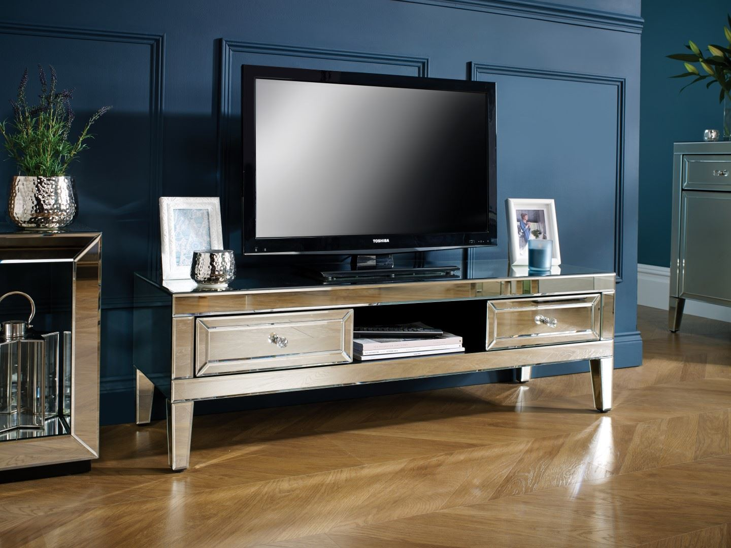 Birlea Valencia Mirrored TV Cabinet Entertainment Unit Bevelled Glass Modern