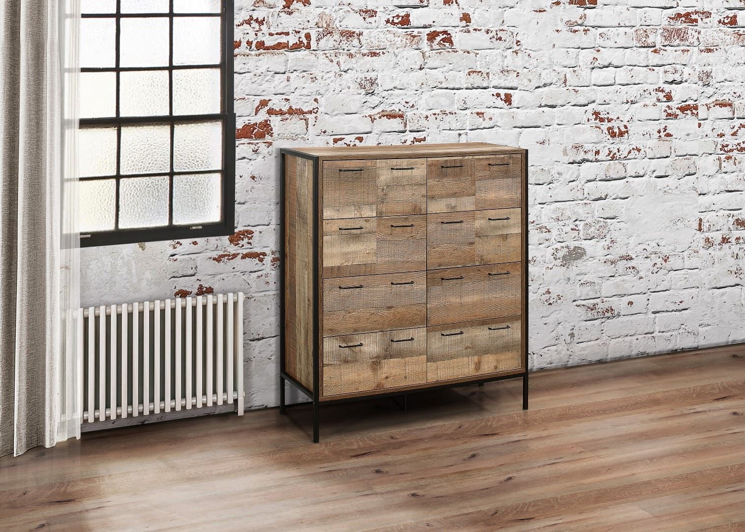 Birlea Urban Industrial Chic 8 Drawer Large Merchant Chest Wood Metal
