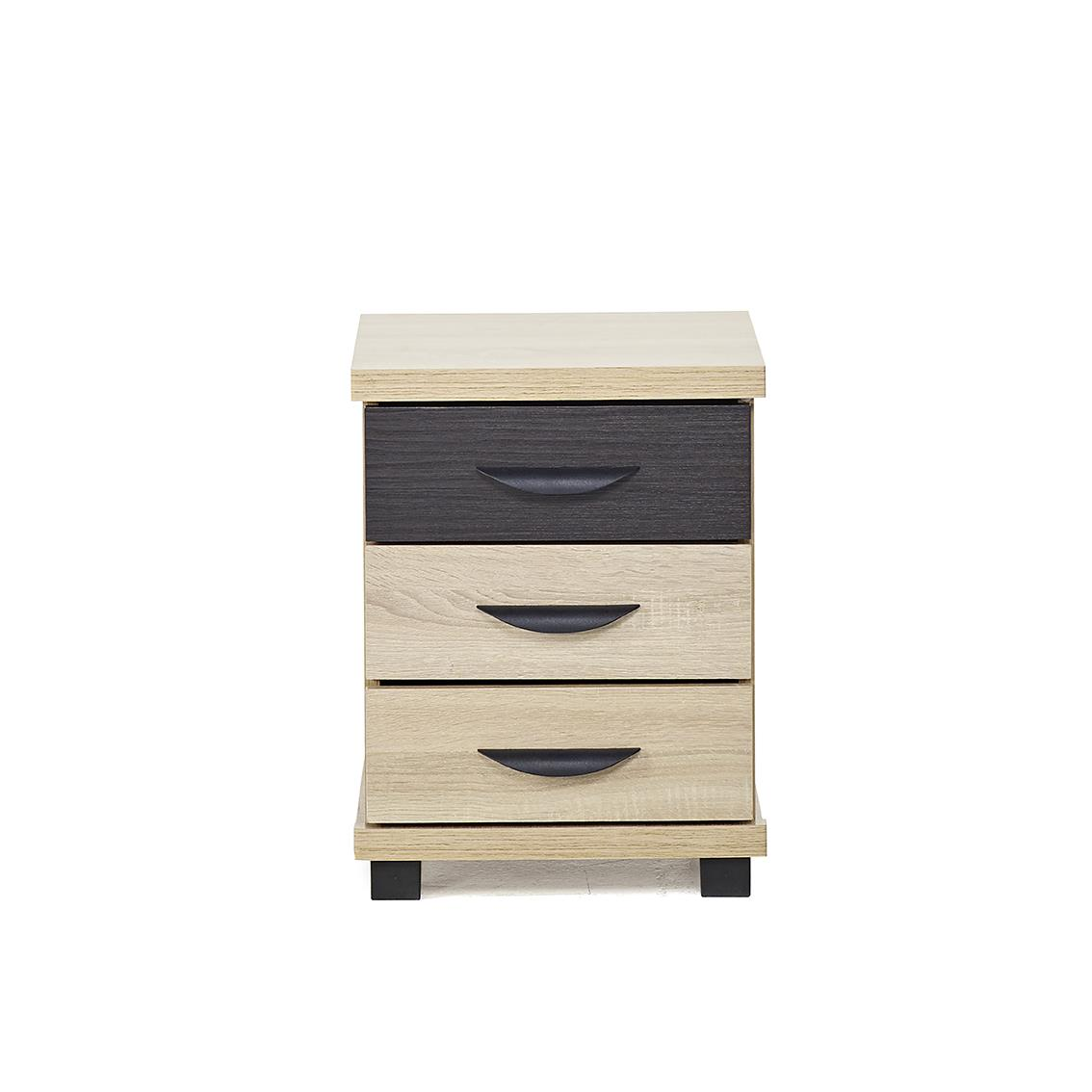 IFC Dominic 3 Drawer Bedside Chest Nightstand Sonoma Oak & Black Modern design