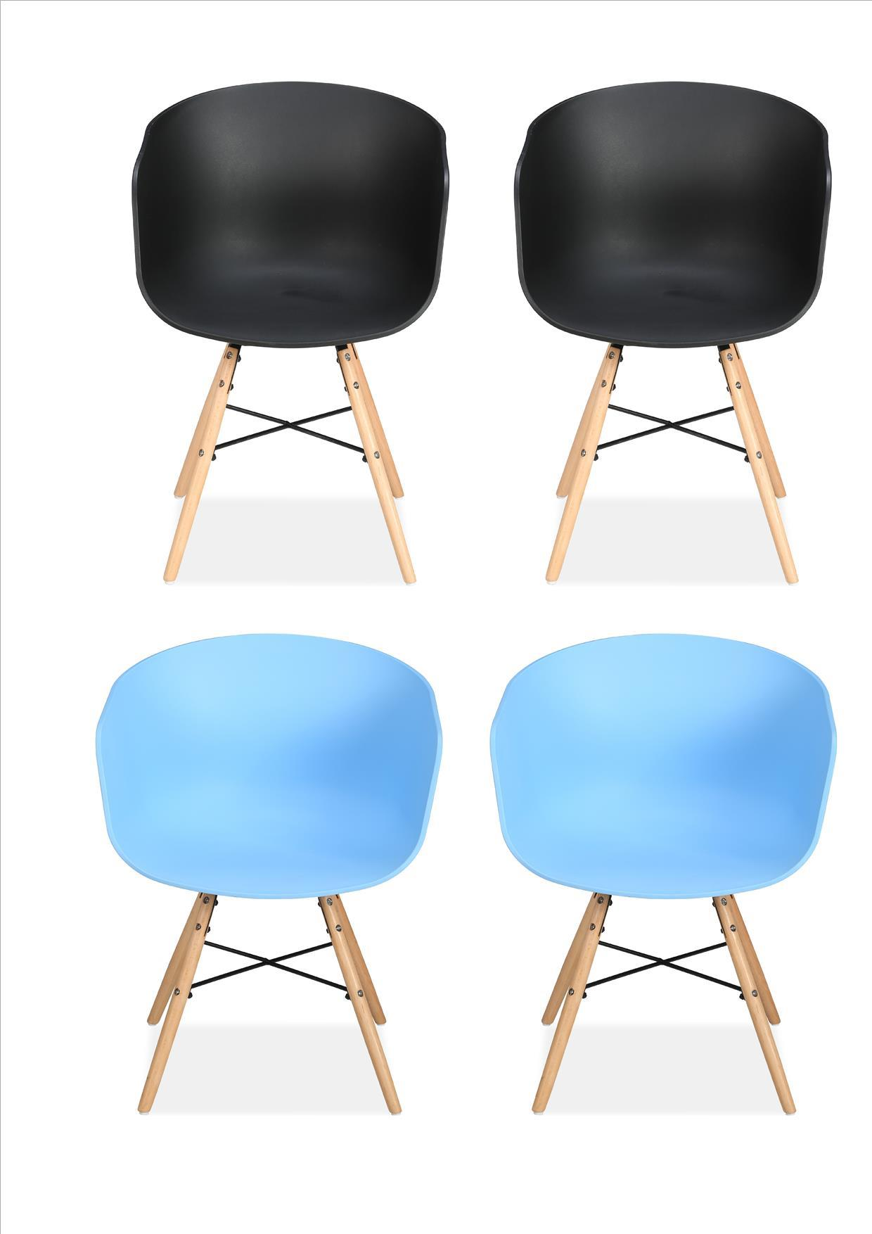 4 Birlea Kipling 2 Blue 2 Black Tub Eiffel Kitchen Dining Chair Bucket Plastic