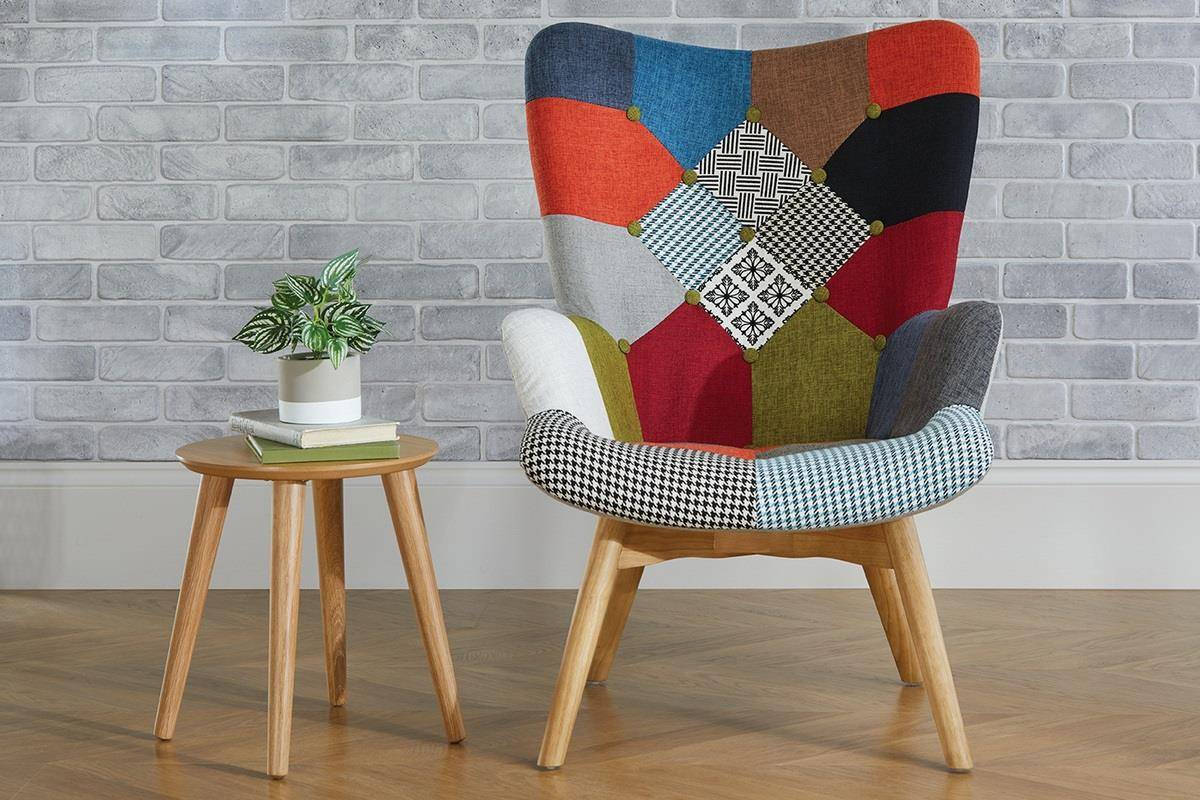 Birlea Sloane Easy Fireside Chair Scandinavian Modern Retro Patchwork Armchair
