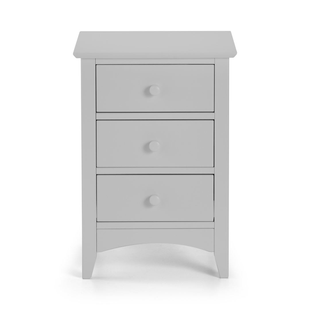 Julian Bowen Cameo Dove Grey Wood 3 Drawer Bedside Cabinet Night Stand Table