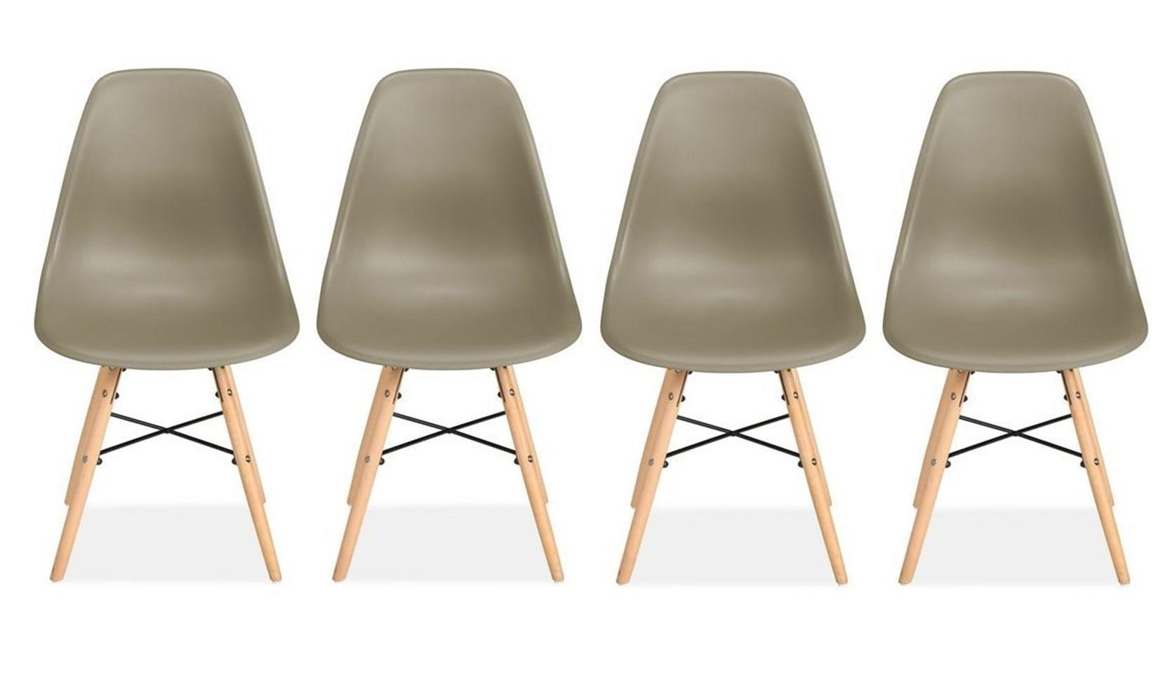 Birlea Hex 4 Putty Grey Dining Chair Scandinavian Modern Retro Design Pair Wood