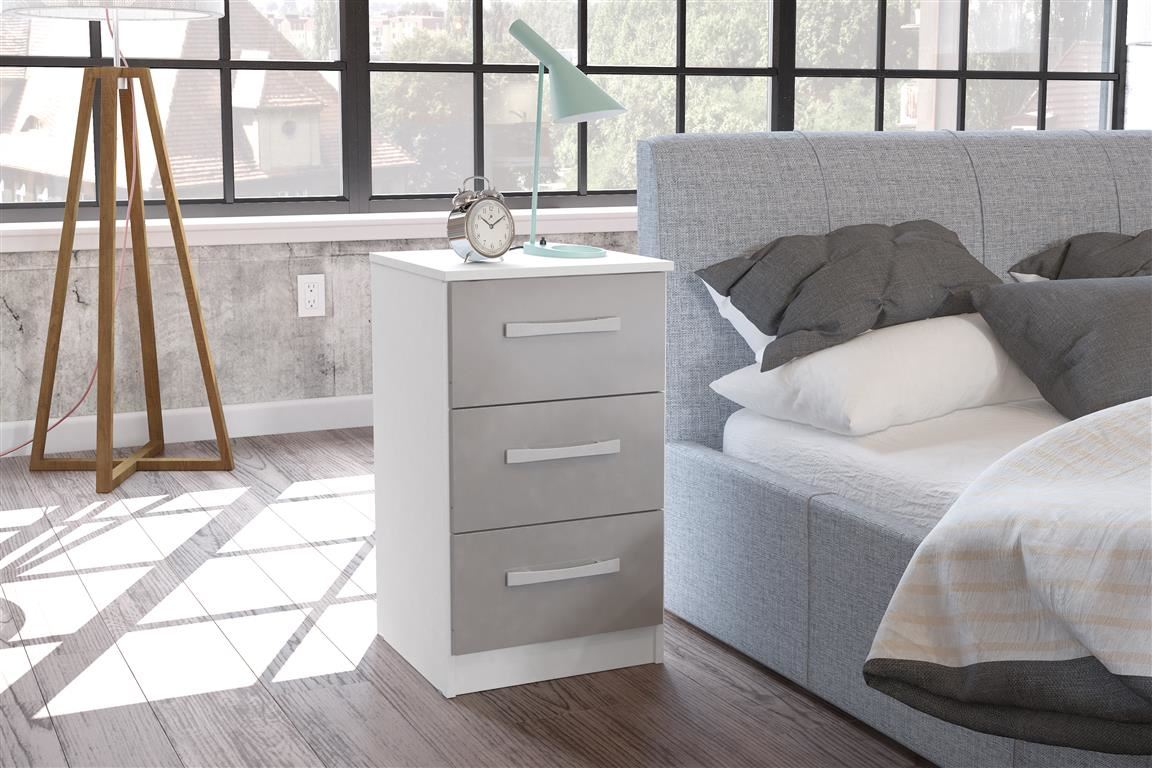 Birlea White Gloss & Grey Gloss Lynx 3 Drawer Bedside Chest Night Stand