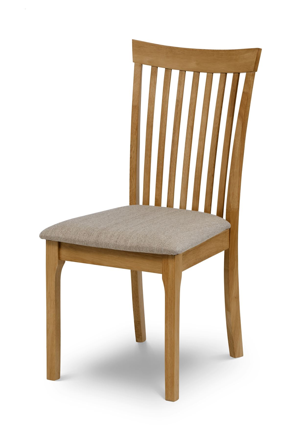 Julian Bowen Ibsen Light Oak Solid Wood Dining Chair with Padded Fabric Seat