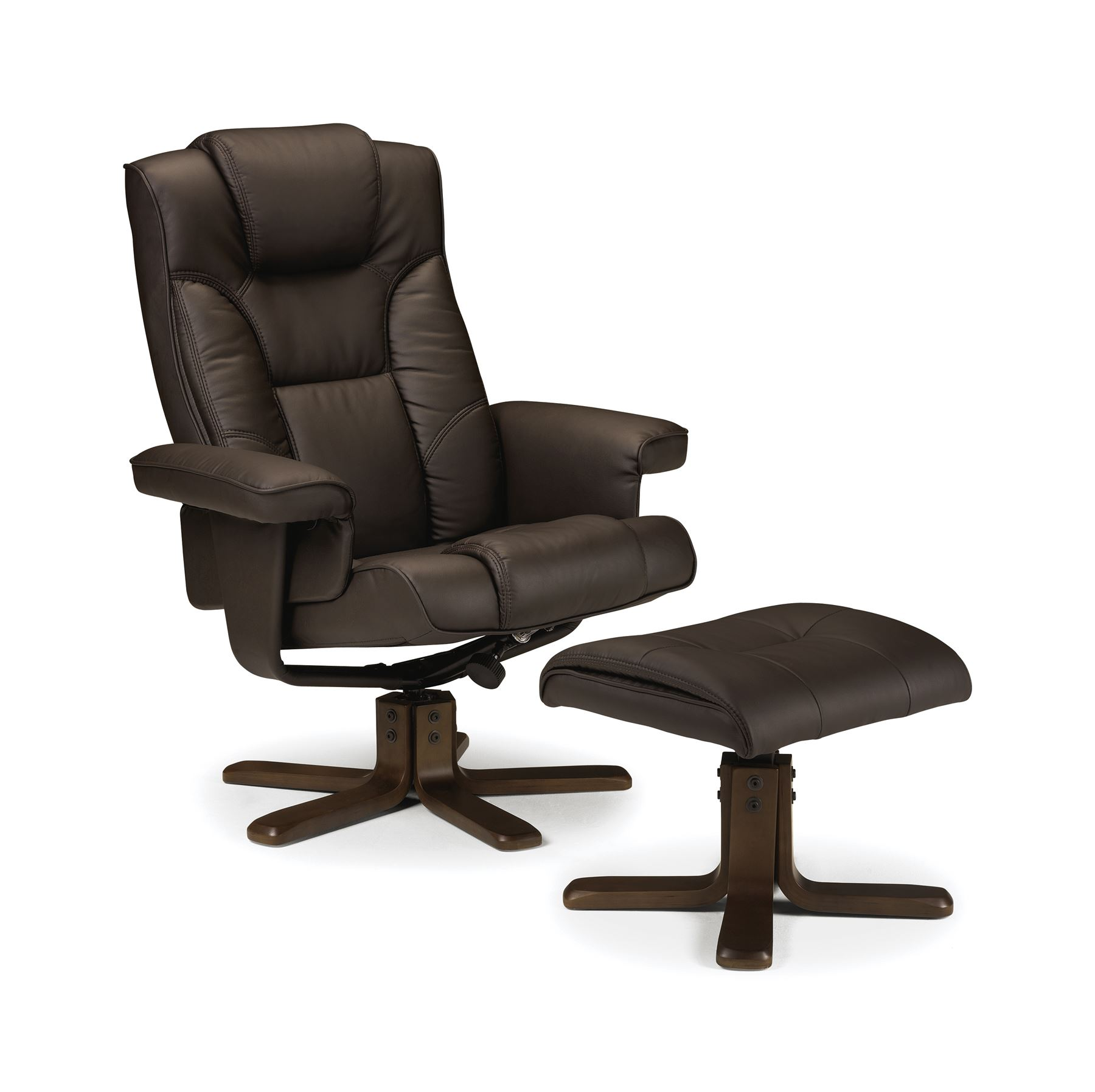 Julian Bowen Malmo Manual Swivel Recliner & Stool in Brown Faux Leather