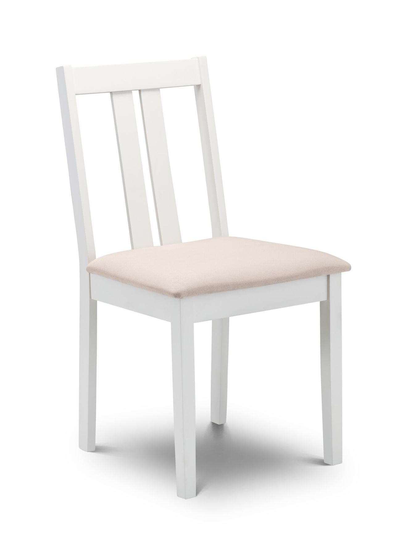 Julian Bowen Rufford Solid Wood Ivory off White & Faux Suede Dining Chair Pair