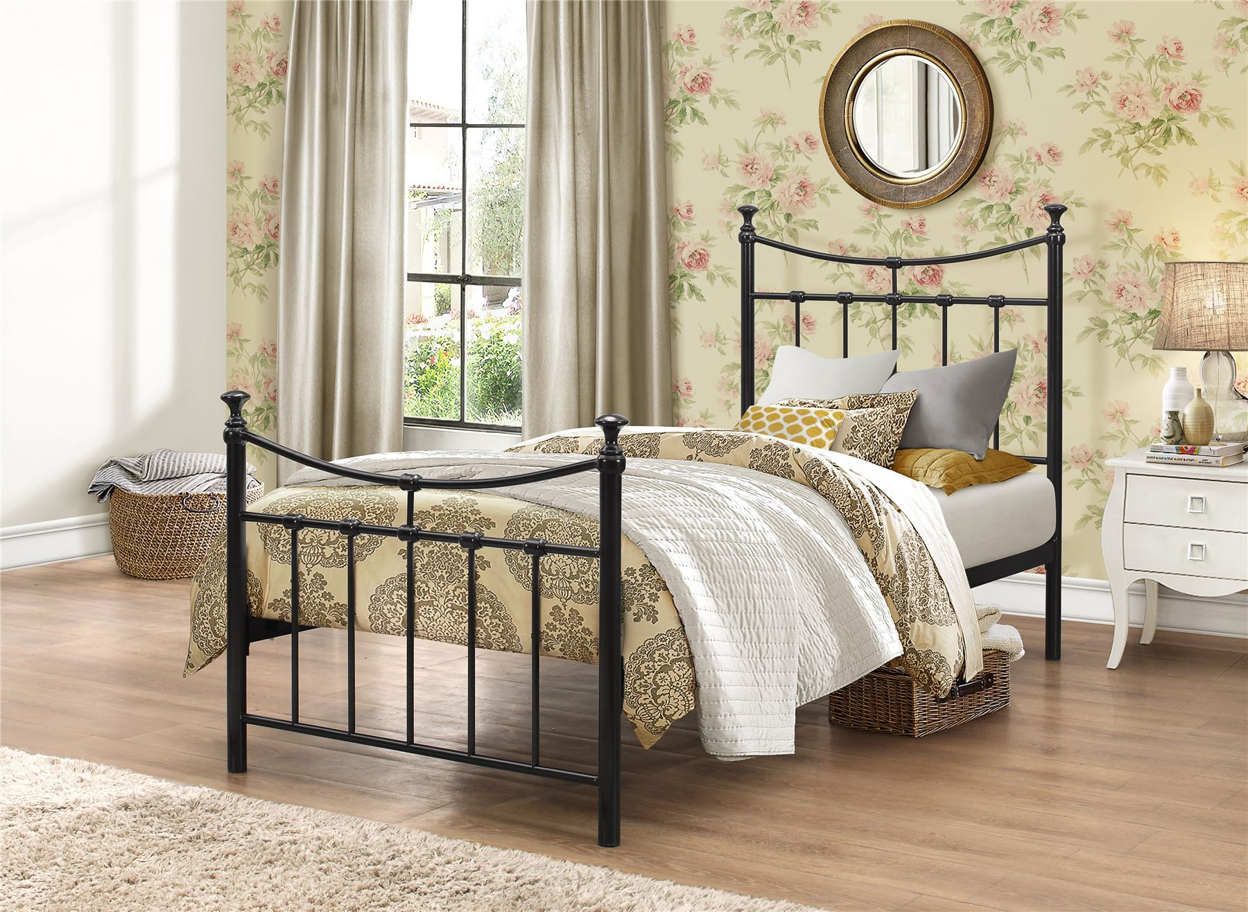 Emily 90cm 3FT Single black metal Bed Frame Bedstead with decorative finials