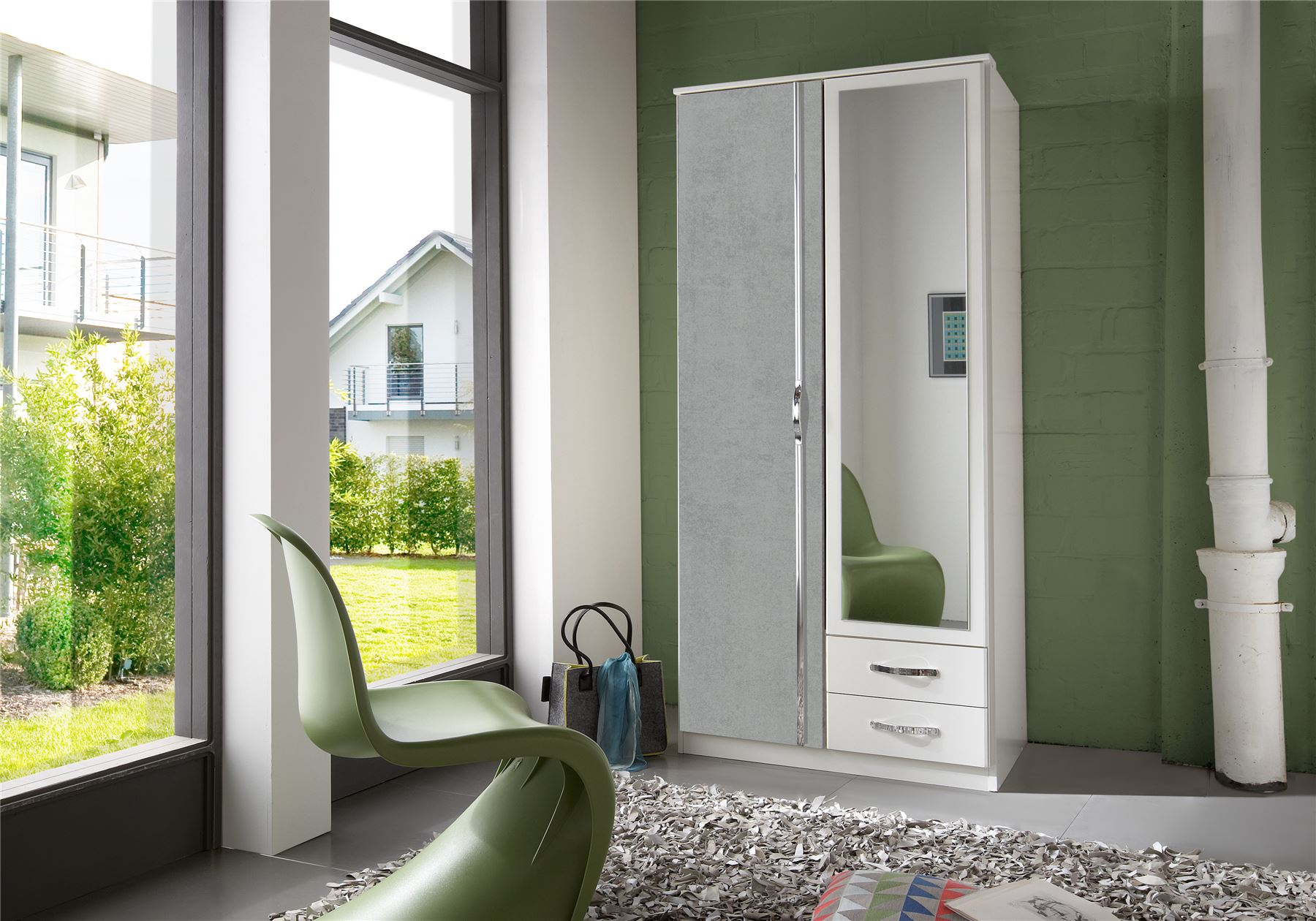 German Duo Concrete Grey & White 2 Door 90cm Wardrobe with Mirror & Drawers